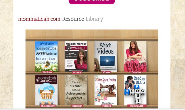 screen shot mommaleah.com library