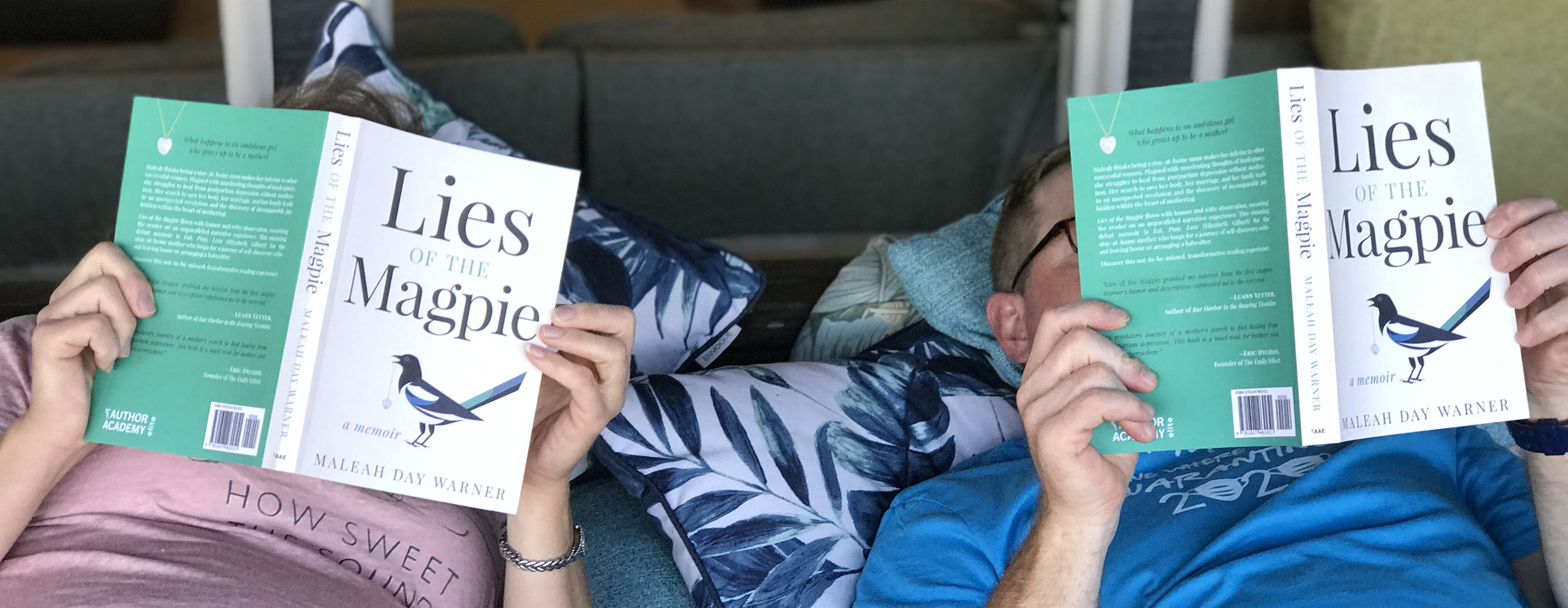 Husband and Wife reading Lies of the Magpie