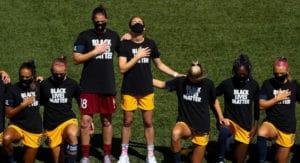 Athletes wear masks, kneel or stand for national anthem