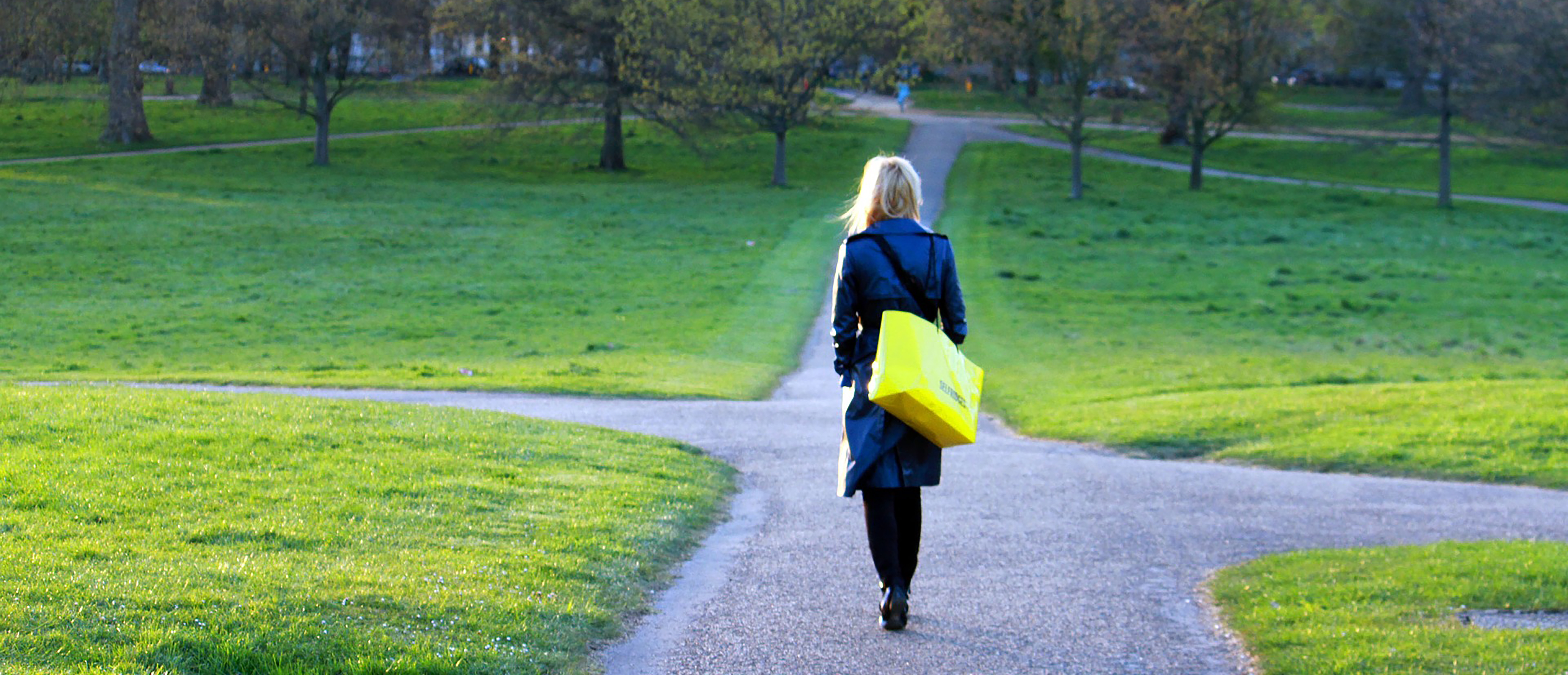 Woman walking different paths